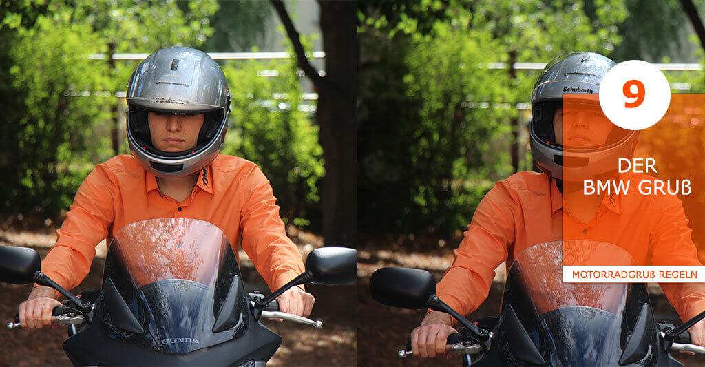 Als arrogante Motorradfahrer die nicht grüßen, so ist der Ruf der BMW Fahrer in der Biker Szene verrufen. Motorradfahrer dieser Marke freuen sich aber über einen Gruß eines anderen BMW Fahrers. Hier wird der Kinnbereich des Helms leicht nach oben gedrückt oder die Augenbraue nach oben gezogen.