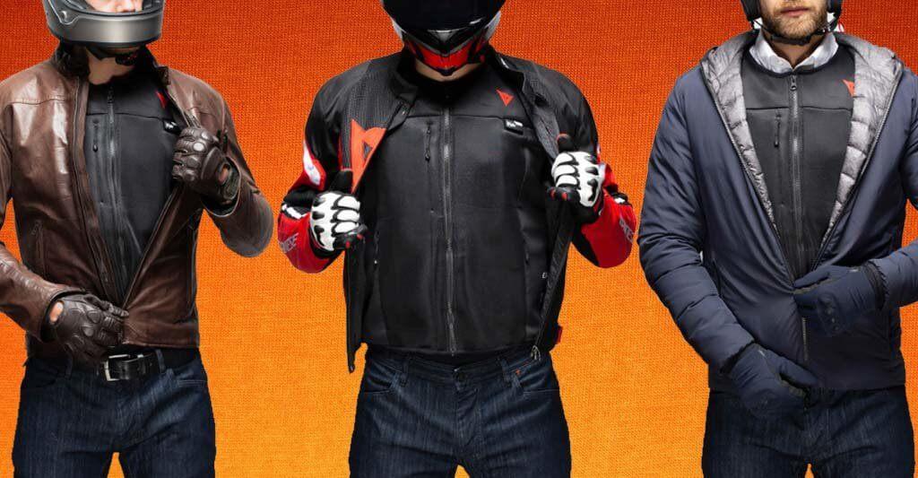 Die Airbag Weste Smart Jacket von Dainese ist im nicht aufgeblasenen Zustand sehr dünn und passt unter jede Motorradjacke.