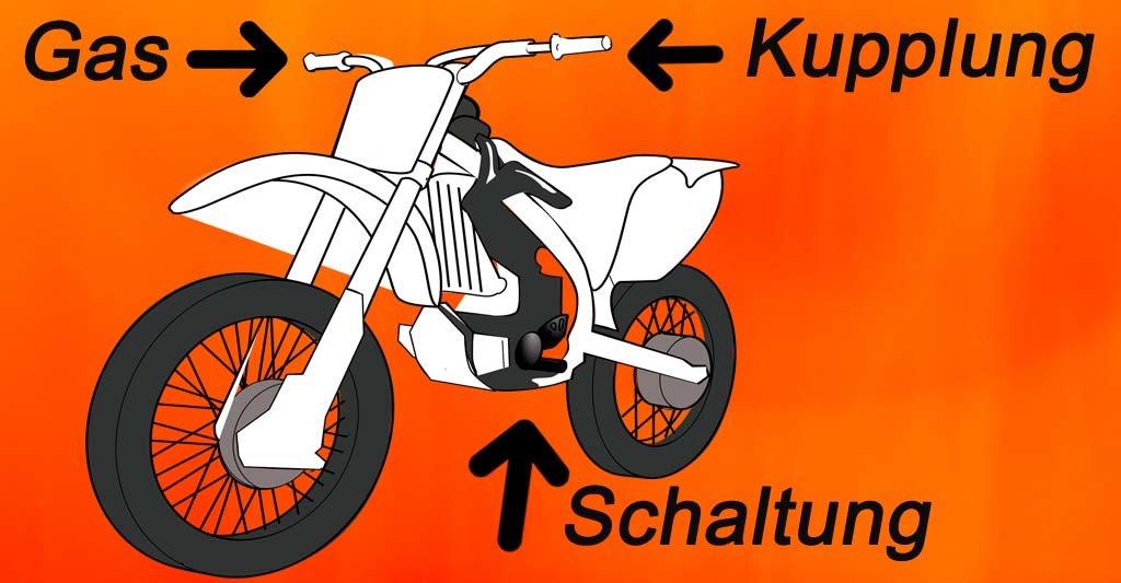 Das Gas befindet sich an dem rechten Lenker. Einfach drehen und die Landschaft wird schneller. Die Motorrad Kupplung ist an dem linken Lenker angebracht und erinnert an die Bremse bei einem Fahrrad. Dein Fuß muss den Schalthebel auf der linken unteren Seite zu bedienen wissen.